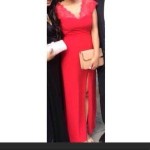 Elise Ryan Asos Red Lace Long Maxi Dress 8